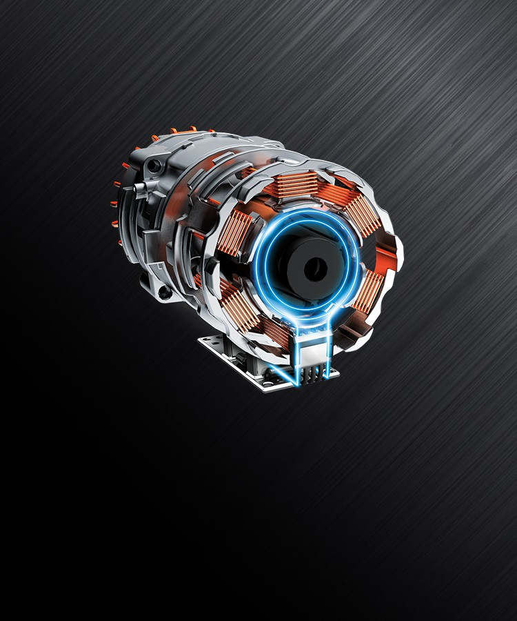 Detailed view of an open brushless motor from a Einhell cordless screwdriver.